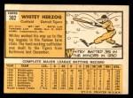1963 Topps #302  Whitey Herzog  Back Thumbnail