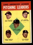 1963 Topps #8   -  Jim Bunning / Camilo Pascual / Dick Donovan / Ray Herbert / Ralph Terry AL Pitching Leaders Front Thumbnail