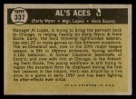 1961 Topps #337   -  Al Lopez / Herb Score / Early Wynn Al's Aces Back Thumbnail