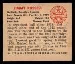 1950 Bowman #223  Jim Russell  Back Thumbnail