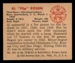 1950 Bowman #232 CPR Al Rosen  Back Thumbnail