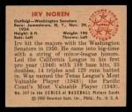 1950 Bowman #247  Irv Noren  Back Thumbnail