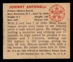 1950 Bowman #74  Johnny Antonelli  Back Thumbnail