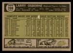 1961 Topps #208 COM Larry Osborne  Back Thumbnail