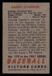 1951 Bowman #179  Danny Litwhiler  Back Thumbnail
