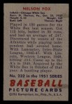 1951 Bowman #232  Nellie Fox  Back Thumbnail
