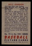 1951 Bowman #74  Billy Johnson  Back Thumbnail