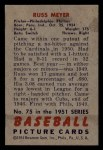 1951 Bowman #75  Russ Meyer  Back Thumbnail
