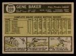 1961 Topps #339  Gene Baker  Back Thumbnail