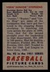 1951 Bowman #92  Junior Stephens  Back Thumbnail