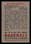 1951 Bowman #98  Willard Marshall  Back Thumbnail