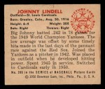 1950 Bowman #209 CPR Johnny Lindell  Back Thumbnail