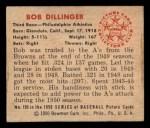 1950 Bowman #105  Bob Dillinger  Back Thumbnail