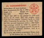 1950 Bowman #71  Red Schoendienst  Back Thumbnail