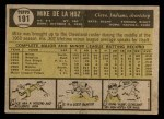 1961 Topps #191  Mike de la Hoz  Back Thumbnail