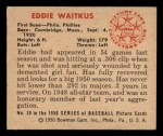 1950 Bowman #30  Eddie Waitkus  Back Thumbnail