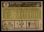 1961 Topps #33  Gary Geiger  Back Thumbnail