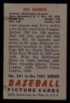 1951 Bowman #241  Irv Noren  Back Thumbnail