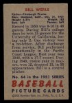 1951 Bowman #64  Bill Werle  Back Thumbnail