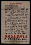 1951 Bowman #68  Dick Kokos  Back Thumbnail