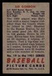 1951 Bowman #19  Sid Gordon  Back Thumbnail