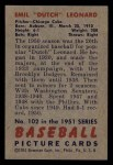1951 Bowman #102  Dutch Leonard  Back Thumbnail