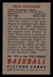 1951 Bowman #191  Billy Hitchcock  Back Thumbnail