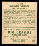 1933 Goudey #233  Johnny Vergez  Back Thumbnail