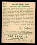 1934 Goudey #69  John Marcum  Back Thumbnail