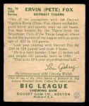 1934 Goudey #70  Pete Fox  Back Thumbnail
