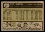 1961 Topps #211  Bob Gibson  Back Thumbnail