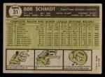 1961 Topps #31  Bob Schmidt  Back Thumbnail
