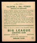 1933 Goudey #118  Val Picinich  Back Thumbnail
