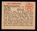 1950 Bowman #220  Leo Durocher  Back Thumbnail