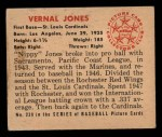 1950 Bowman #238  Vernal 'Nippy' Jones  Back Thumbnail