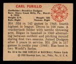1950 Bowman #58  Carl Furillo  Back Thumbnail