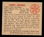 1950 Bowman #66  Larry Jansen  Back Thumbnail