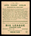 1933 Goudey #110  Goose Goslin  Back Thumbnail