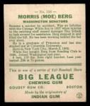 1933 Goudey #158  Moe Berg  Back Thumbnail
