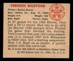 1950 Bowman #57  Vern Bickford  Back Thumbnail