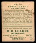 1933 Goudey #3  Hugh Critz  Back Thumbnail