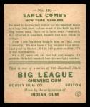 1933 Goudey #103  Earle Combs  Back Thumbnail