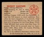 1950 Bowman #183 ^CR^ Mickey Haefner  Back Thumbnail