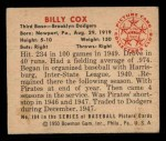 1950 Bowman #194  Billy Cox  Back Thumbnail