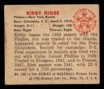1950 Bowman #200 CPR Kirby Higbe  Back Thumbnail