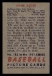 1951 Bowman #183  Hank Bauer  Back Thumbnail