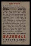 1951 Bowman #209  Ken Wood  Back Thumbnail