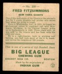 1933 Goudey #235  Fred Fitzsimmons  Back Thumbnail