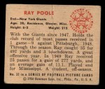 1950 Bowman #32  Ray Poole  Back Thumbnail