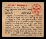 1950 Bowman #222 CPR Bob Morgan  Back Thumbnail